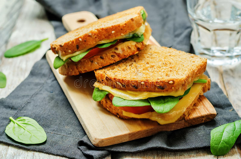 Spinach tomato cheese grilled rye sandwiches royalty free stock images