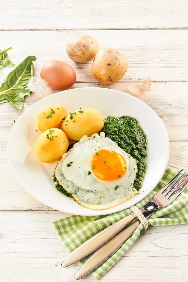 Spinaci cremosi passati con l'uovo fritto fotografie stock libere da diritti