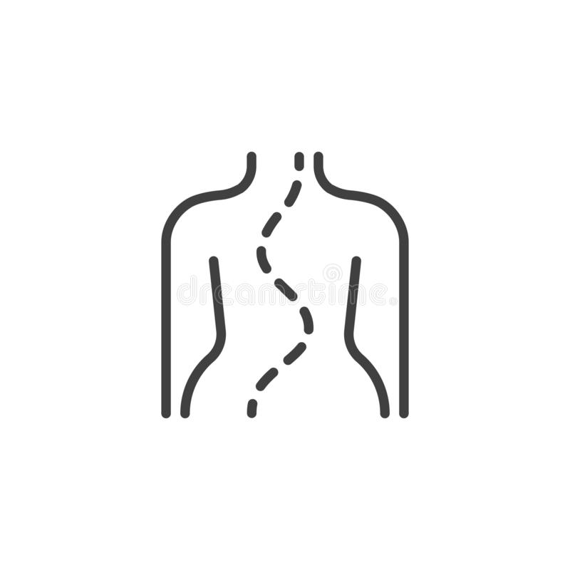 Spinal deformity type line icon. Linear style sign for mobile concept and web design. Scoliosis spine outline vector icon. Symbol, logo illustration. Vector royalty free illustration