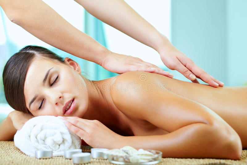 Spinal massage stock photo