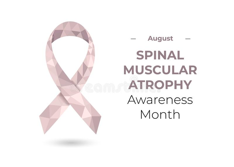 Spinal muscular atrophy awareness month ribbon web. Spinal muscular atrophy pale pink awareness month - August - ribbon. Low poly colorful vector illustration stock illustration