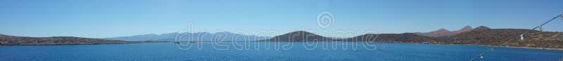 Spinalonga boat panorama stock images