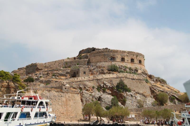 Spinalonga trędowatego koloni forteca, Elounda, Crete zdjęcie stock