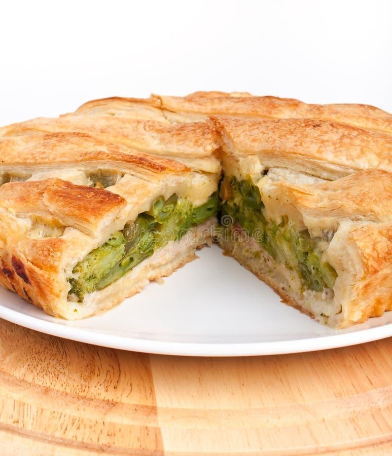 Spinat und Torte der grünen Bohnen stockbild