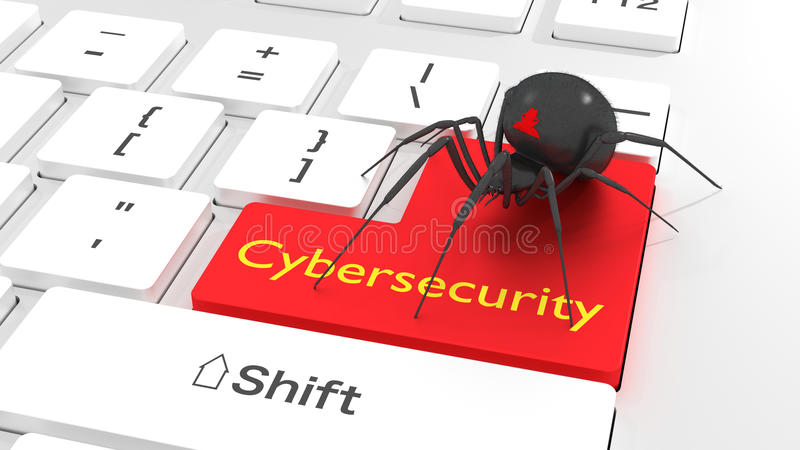 Spindel för Cybersecurity avskildhetsbegrepp på det vita tangentbordet vektor illustrationer