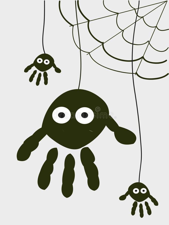 Spindeln med handen skrivar ut halloween bakgrund stock illustrationer