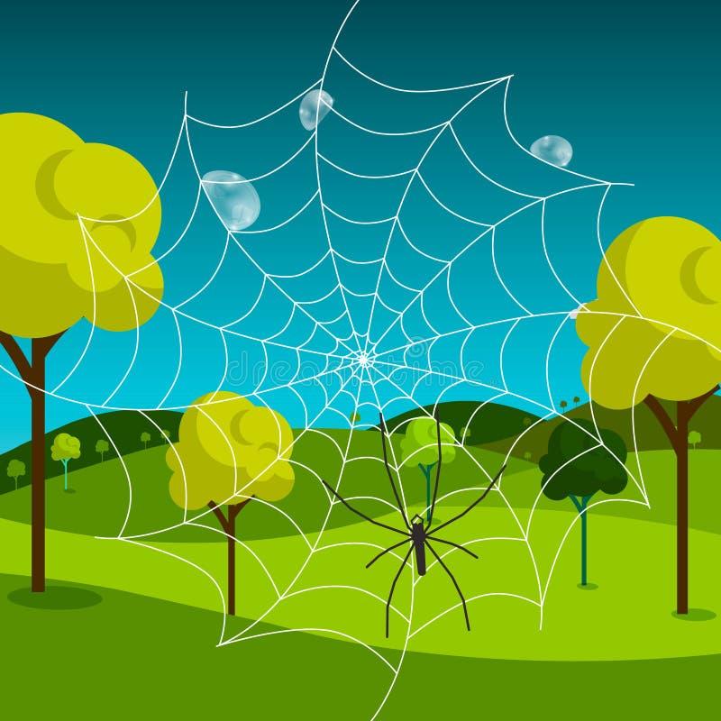 Spindelrengöringsduk med dagg och ängen stock illustrationer