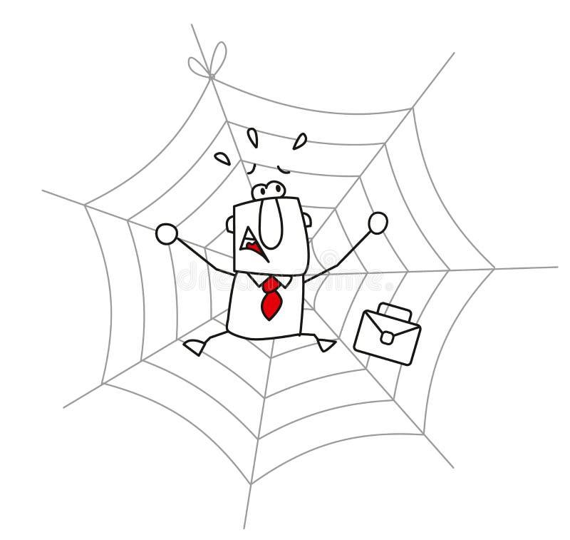 Spindelrengöringsduk och affärsmannen stock illustrationer