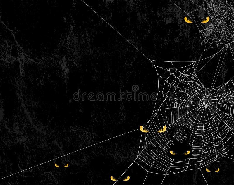 Spindelrengöringsduk och halloween för ondskagulingögon bakgrund royaltyfri illustrationer
