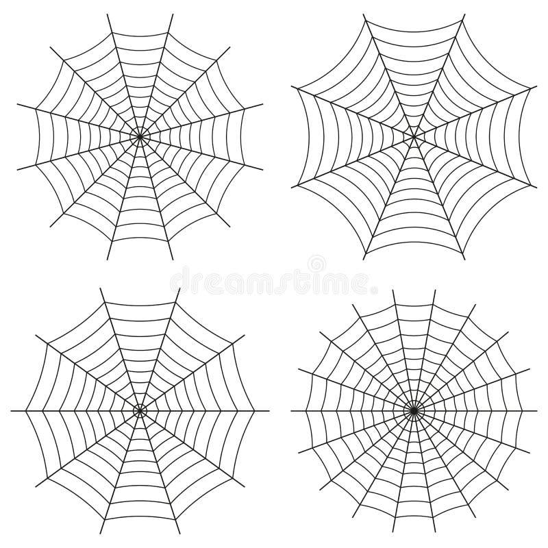 Spindelrengöringsduk, vektoruppsättning av symboler Gullig gotisk stil stock illustrationer