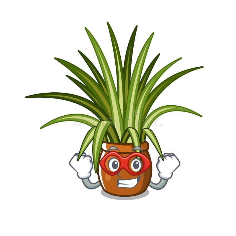 Spindelväxt för toppen hjälte som isoleras med i maskot royaltyfri illustrationer