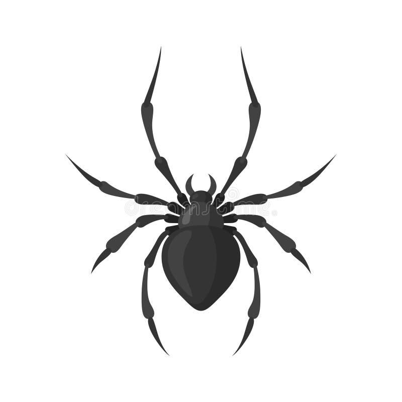 Spindelvektorillustration i en plan stil royaltyfri illustrationer