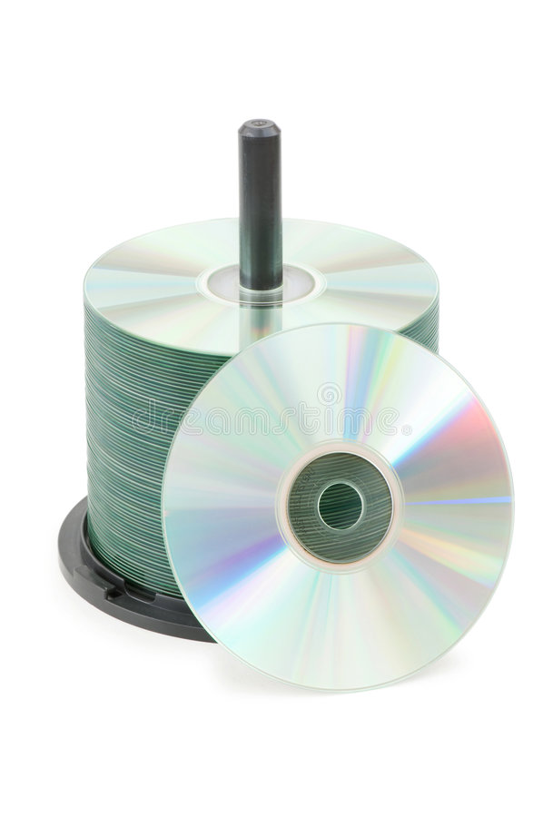 Spindle of cd disks isolated. On white stock photography