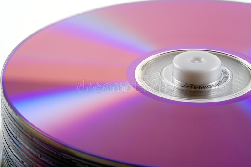 Spindle of CD's. A spindle of compact discs stock image