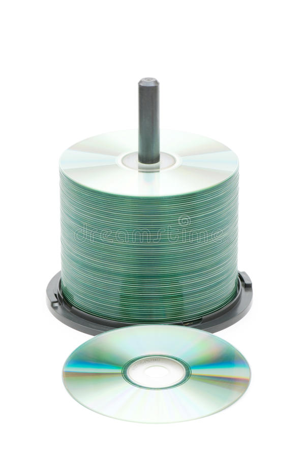 Free Spindle Of Cd Disks Isolated Royalty Free Stock Photography - 9871287