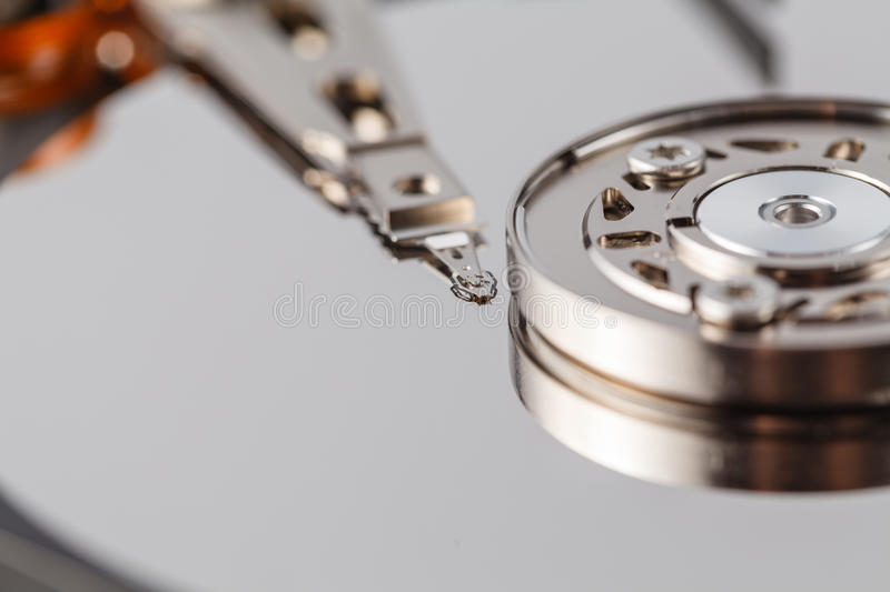 Spindle and plate open HDD stock image