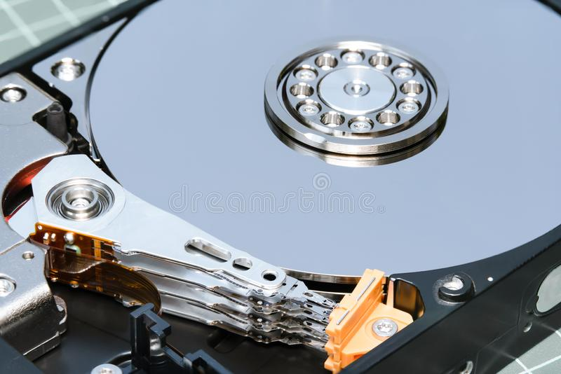 Spindle and plate opened hard disk drive HDD. royalty free stock images