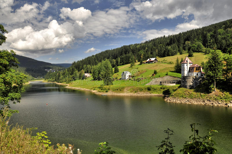 Spindleruv Mlyn. View from Spindleruv Mlyn dam, Czech Republic royalty free stock image