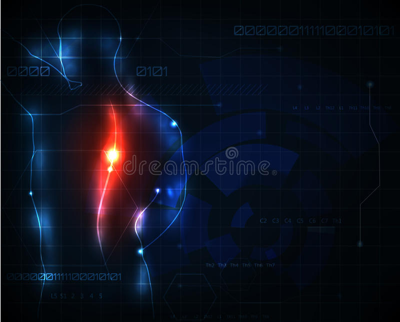 Spine ache. Human spine ache abstract background stock illustration