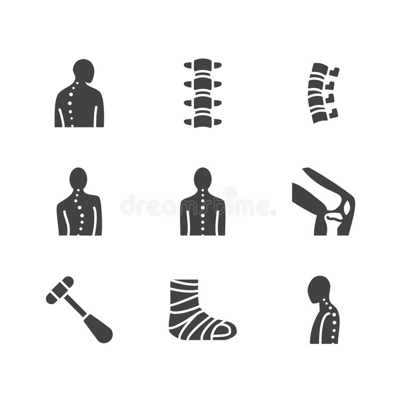 Spine, backbone flat glyph icons. Orthopedics clinic, medical rehab, back trauma, broken bone posture correction royalty free illustration