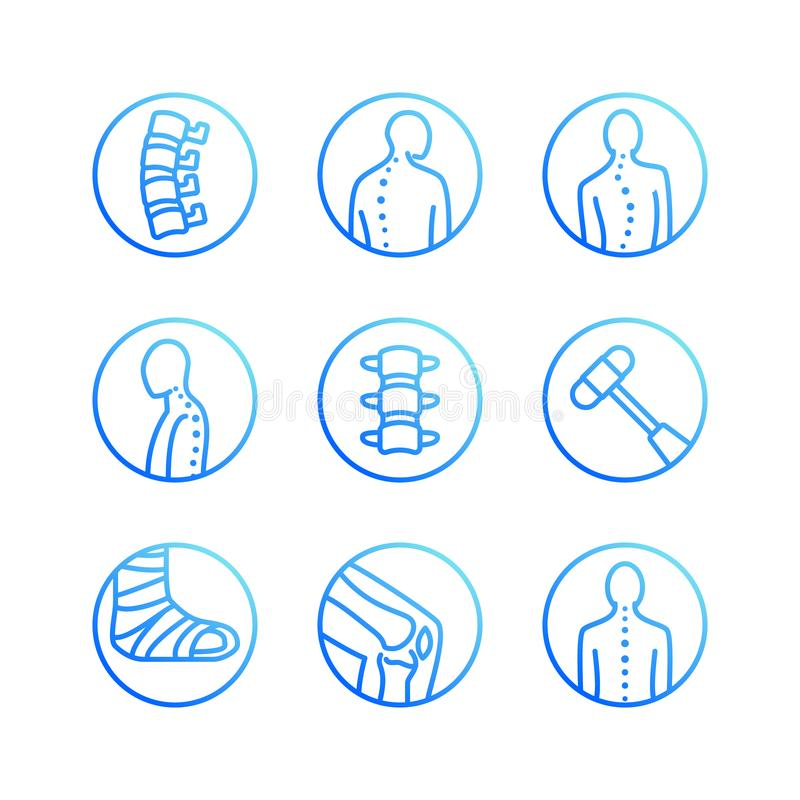 Spine, backbone flat line icons. Orthopedics clinic, medical rehab, back trauma, broken bone, posture correction royalty free illustration