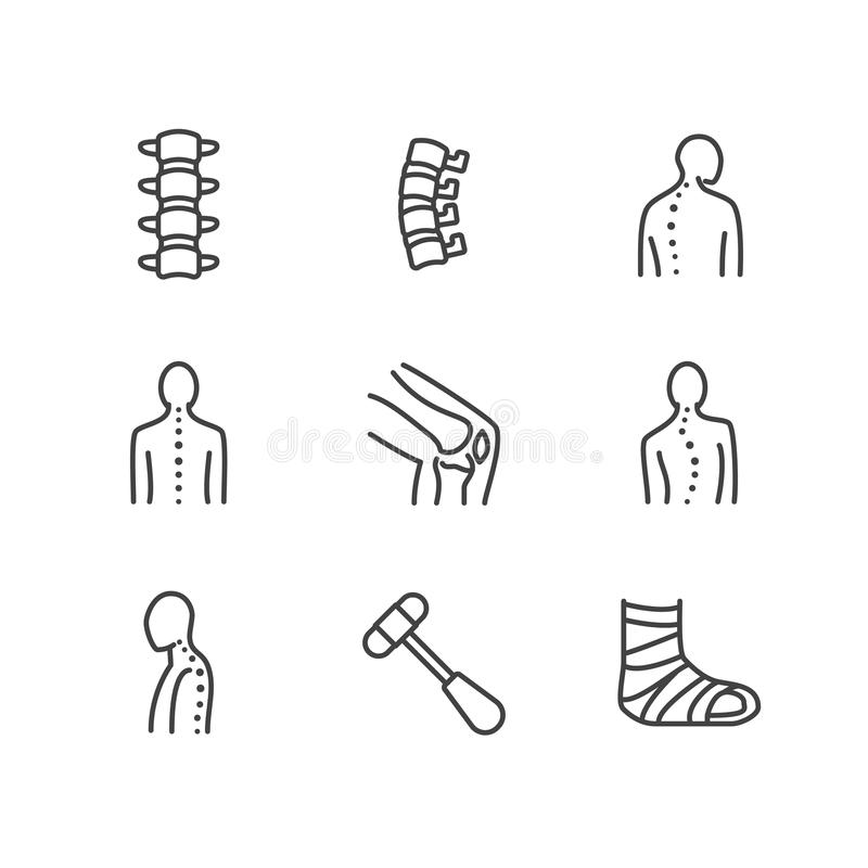 Spine, backbone line icons. Orthopedics clinic, medical rehab, back trauma, broken bone, posture correction, scoliosis stock illustration