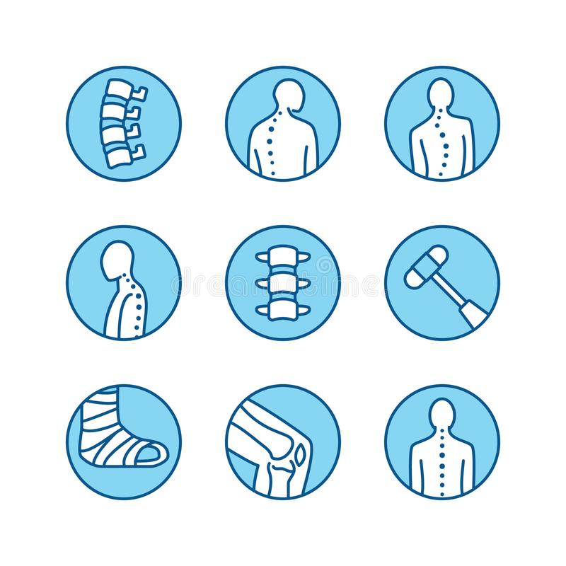 Spine, backbone line icons. Orthopedics clinic, medical rehab, back trauma, broken bone, posture correction, scoliosis stock illustration