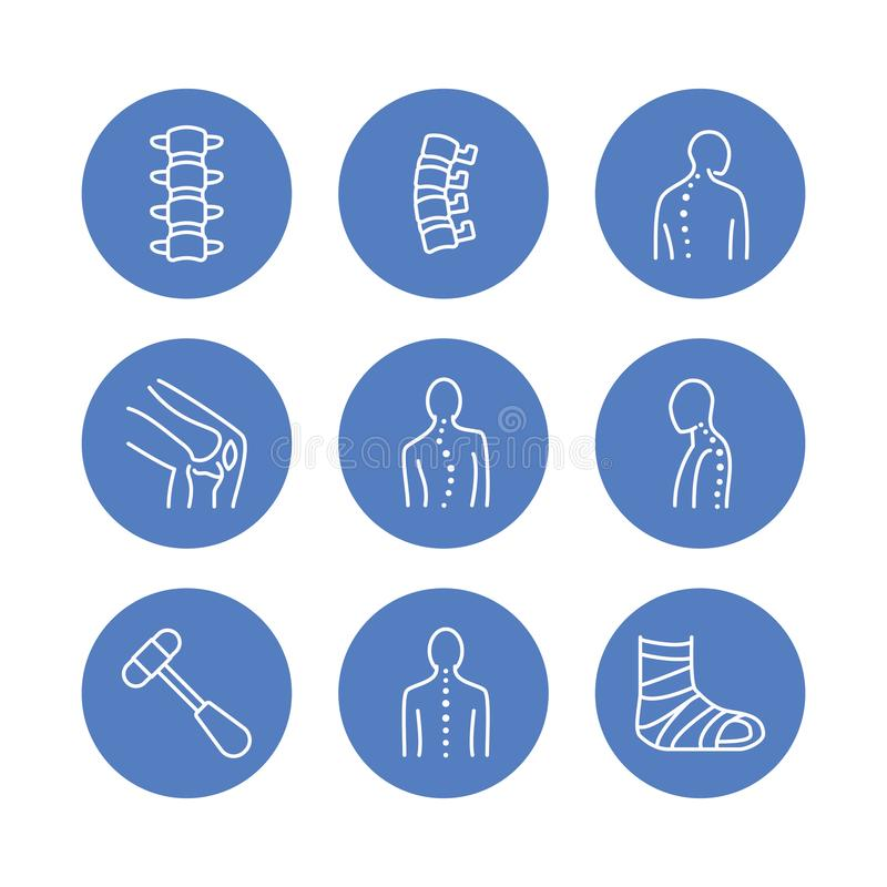 Spine, backbone line icons. Orthopedics clinic, medical rehab, back trauma, broken bone, posture correction scoliosis royalty free illustration