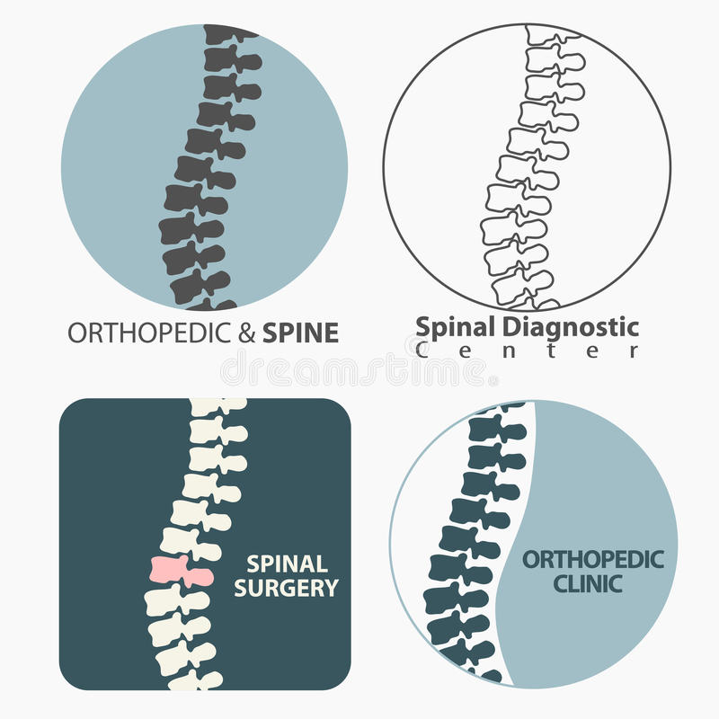 Spine diagnostics center. Medicine, clinic symbol design, backbone silhouette vector emblem royalty free illustration