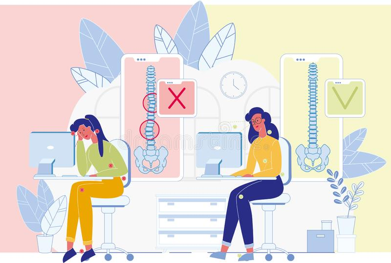 Posture Problem Caused Workplace Ergonomics Vector. Spine Diseases, Posture Problems Prevention Flat Vector Banner. Woman Sitting at Desk, Working on Computer royalty free illustration