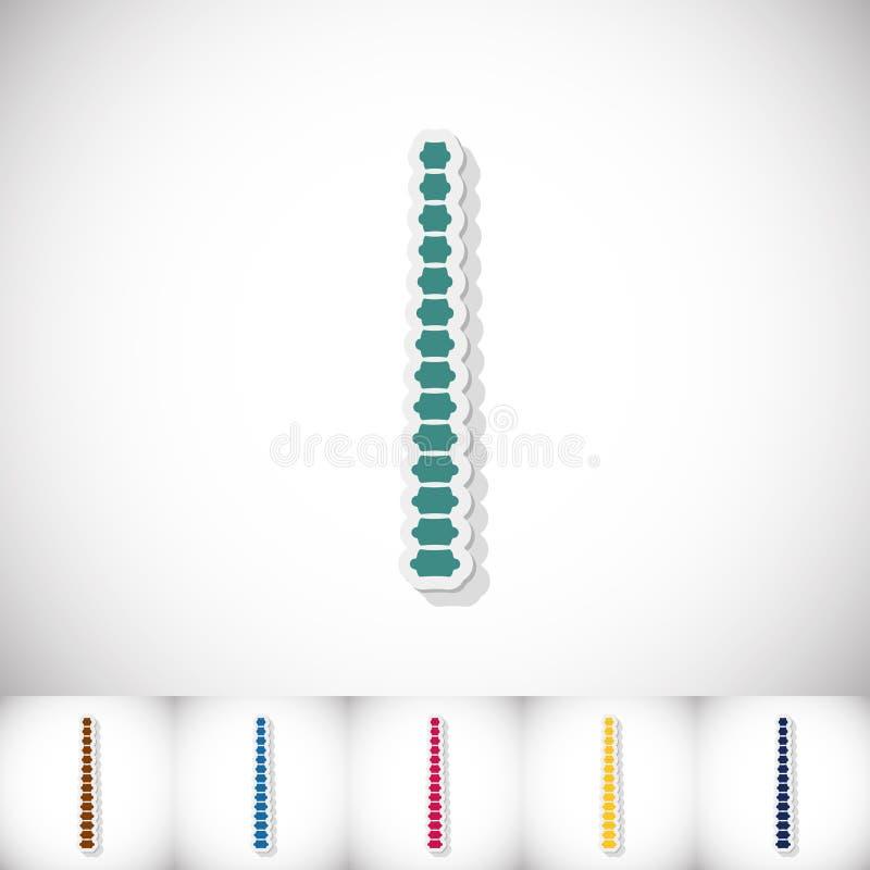 spine Etiqueta engomada plana con la sombra en el fondo blanco stock de ilustración