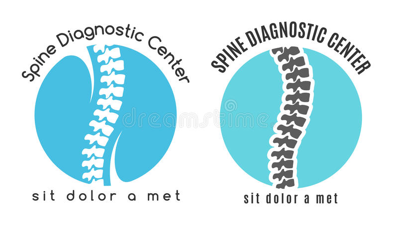 Spine medical diagnostics symbol or logo. Medicine and anatomy, backbone and scoliosis, analysis and research, vector illustration royalty free illustration