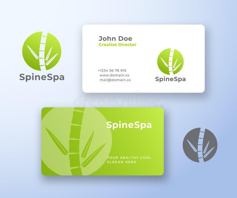 Spine Spa αφηρημένα διανυσματικά λογότυπο και πρότυπο επαγγελματικών καρτών Μίσχος μπαμπού ως σπονδυλική στήλη με τα φύλλα Σύγχρο διανυσματική απεικόνιση
