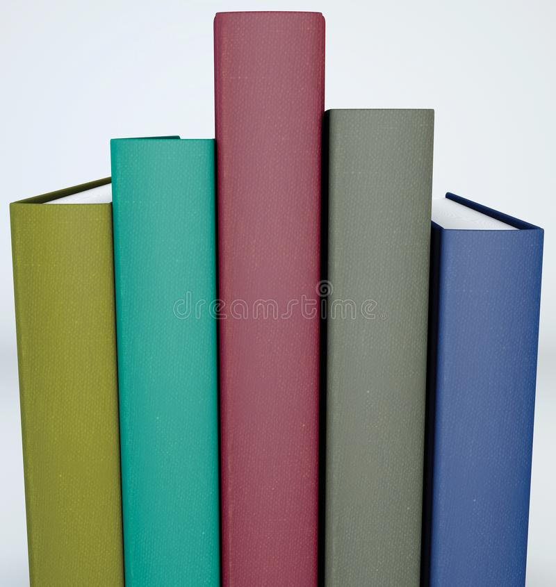 Spine tail, foot of books. Spine cover of five backed books arranged in order of height. Book covers arranged on a shelf royalty free illustration