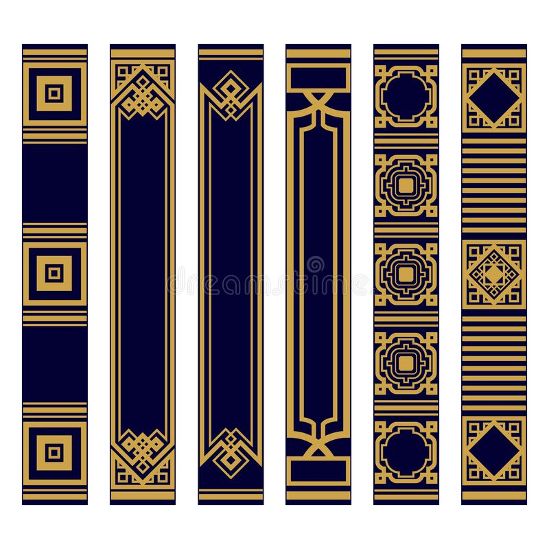 Free Spines Of Books Pattern Set. Bookbinding Template Design. Samples Roots Of Book Or Bookmarks. Luxury Gold And Blue Ornament. Stock Images - 206879464