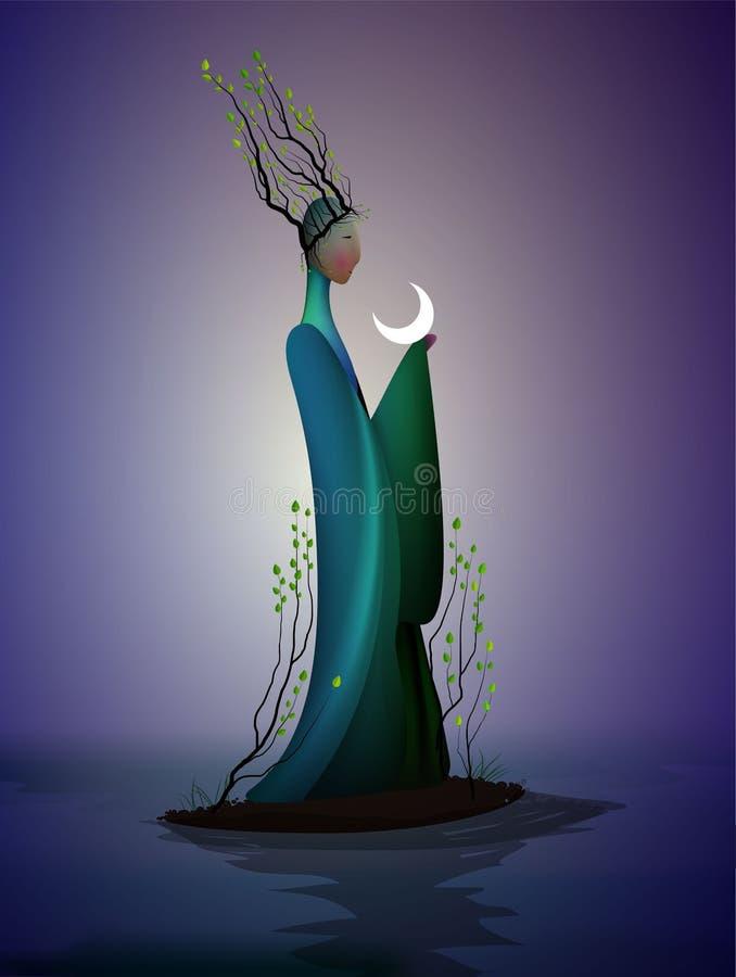 Sping féerique, ressort fantastique d'icône d'imagination de ressort, silhouette des branches de withtree de femme sur la tête et illustration stock