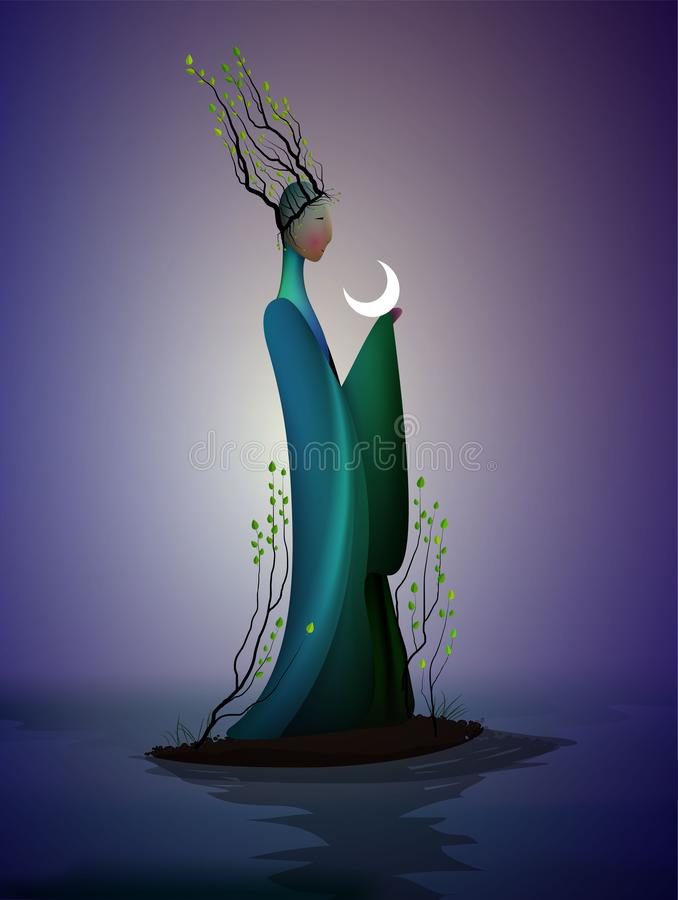 Sping fairy, spring fantasy icon fantastic spring, silhouette of woman withtree branches on the head and holding the stock illustration