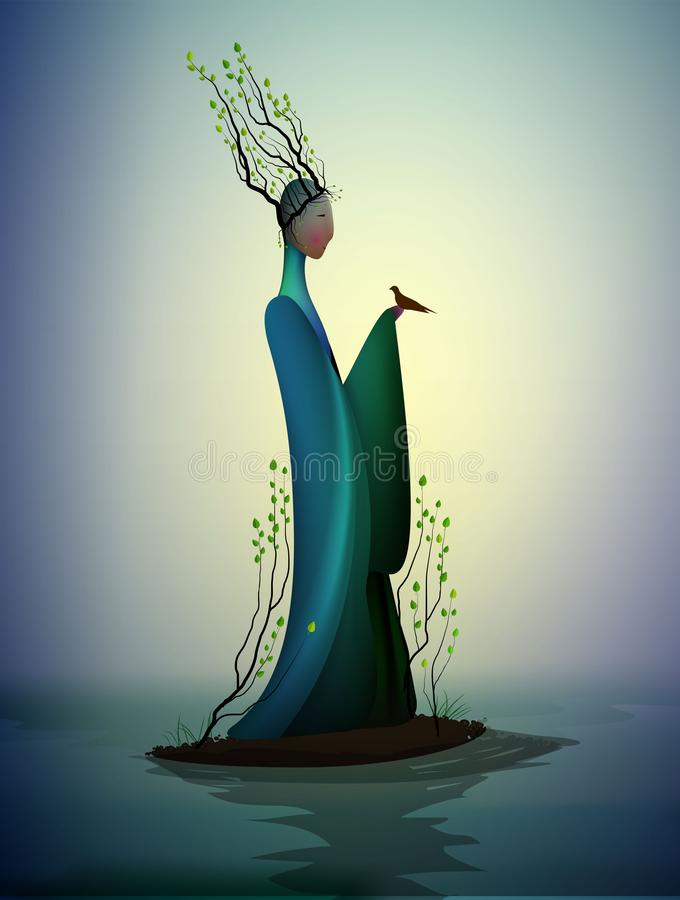 Sping fairy, spring fantasy icon fantastic spring, silhouette of woman withtree branches on the head and holding the. Bird, vector stock illustration
