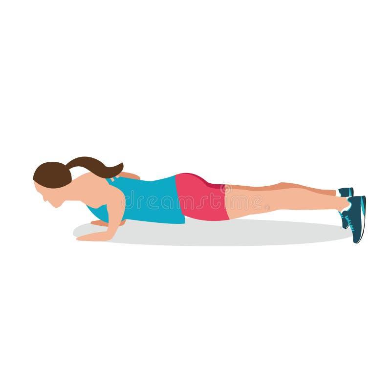 Spinga verso l'alto la femmina di allenamento di addestramento della palestra di esercizio di posizione di forma fisica della don royalty illustrazione gratis