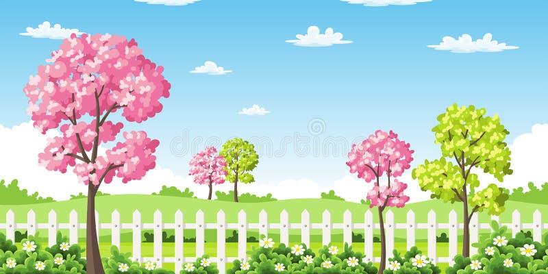 Spingslandschap met bomen, bloemen en omheining vector illustratie