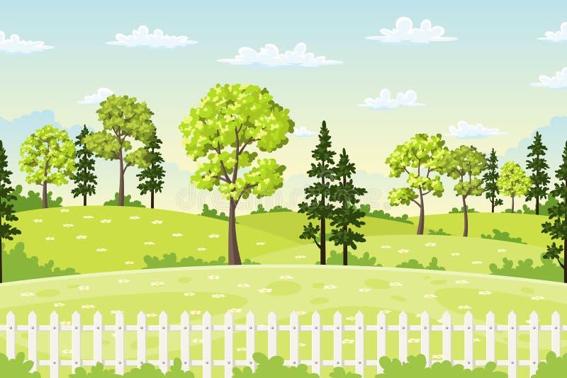 Spingslandschap met bomen, bloemen en omheining stock illustratie