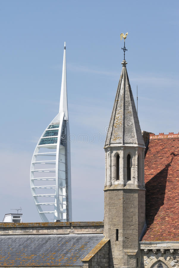 Spinnaker Tower And Disused Church. Portsmouth. UK Editorial Stock Image