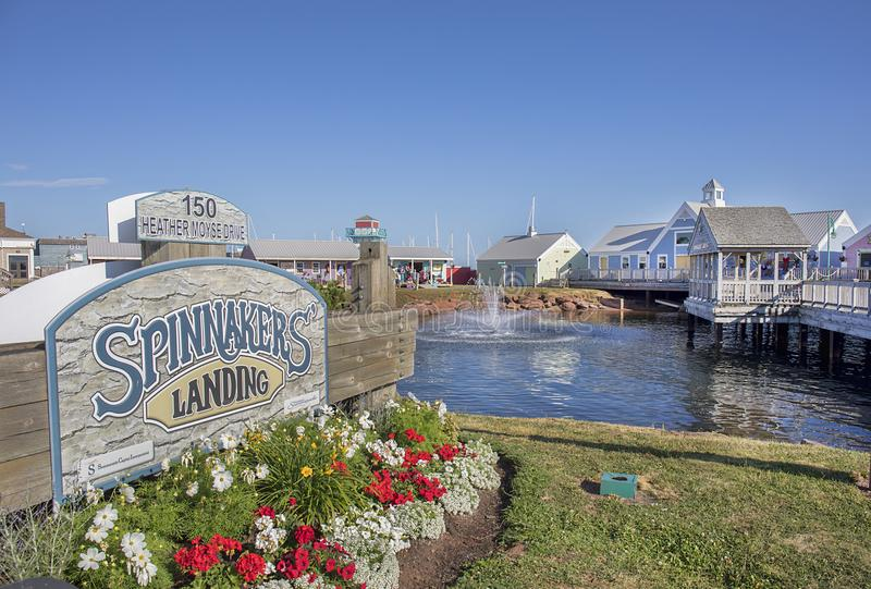 Spinnakers Landing, Prince Edward Island, Canada. Front view with sign, of Spinnakers Landing in Prince Edward Island, Canada With retail shops and restaurants stock image