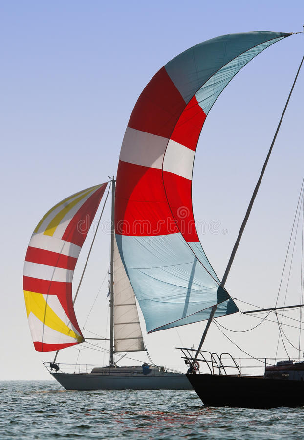 Spinnakers on the Wind. Sailing boats with spinnakers in Polish and German lake royalty free stock photos