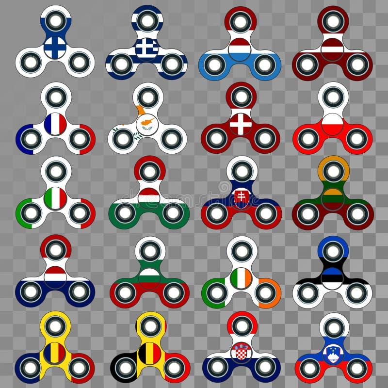 Spinnare med europeiska flaggor på genomskinlig bakgrund royaltyfri illustrationer