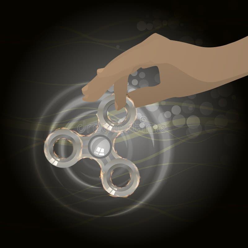 Spinnaresilverjärn roterande av den mänskliga handen stock illustrationer