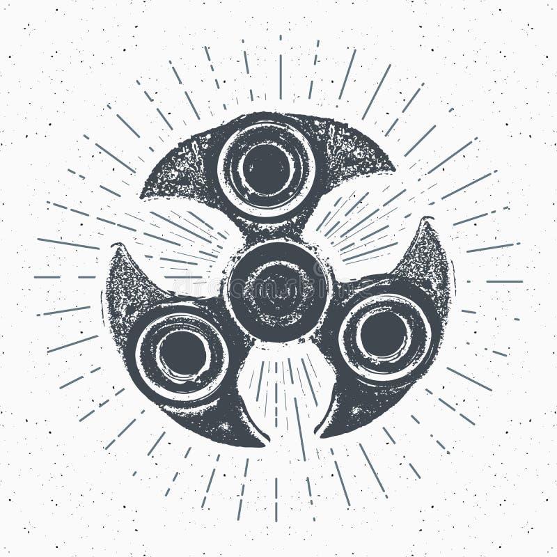 Spinnaretappningetiketten, den drog handen skissar, det grunge texturerade retro emblemet, det typografidesignt-skjortan trycket, vektor illustrationer