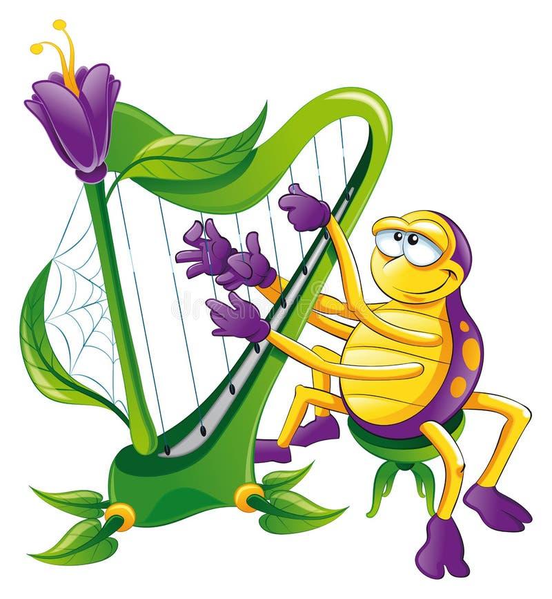 Spinne mit Harfe stock abbildung