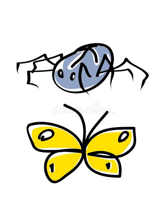 Spinne und Basisrecheneinheit lizenzfreie abbildung