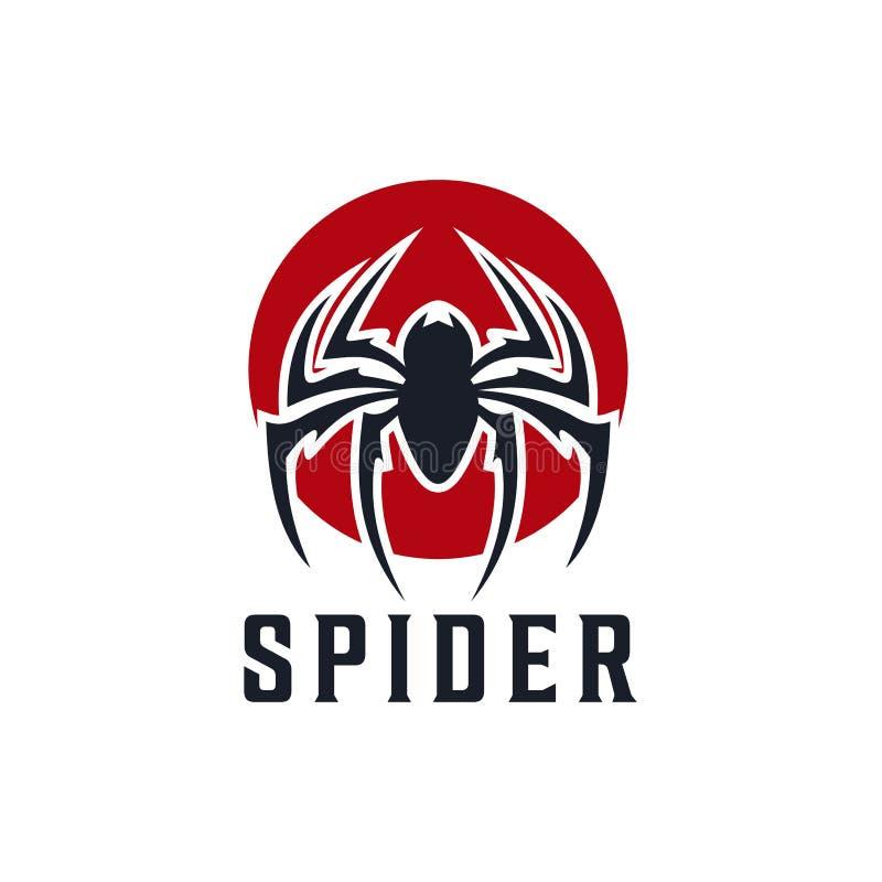 Spinnen-Ausweislogoentwurfs-Inspiration Illustration vektor abbildung